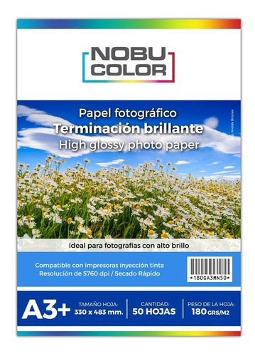 Papel Foto Glossy Brillante Nobucolor A3+ 180 Gr. 50 Hojas