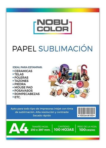 Papel Sublimación A4 100 Hojas / 100 Grs.