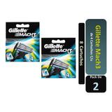 Gillette Mach3 De 4 Cartuchos Pack X 2 Unidades