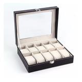 Caja Organizadora 10 Relojes Alta Calidad 25 X 8 X 20 Cm