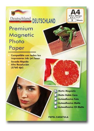 Papel Fotográfico Magnético (imantado) Matte A4 / 5 Hojas