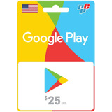 Tarjeta Google Play Gift Card 25 Usa Digital - Prepagochile