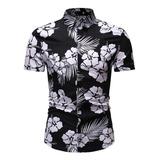 Camisa Hombre Con Estampado De Flores Cuello Vuelto Casual