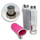 12 Botellas Vidrio Filtro Funda Té Café 450 Ml Colores R5320