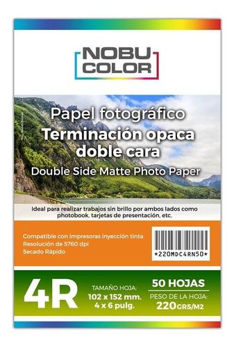 Papel Foto Matte Doble Cara 4r 102x152 Mm. 220 Gr. 50 Hojas