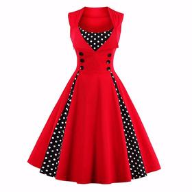 Vestido Vintage Pin Up  Rojo Años 50 Rockabilly Va 207