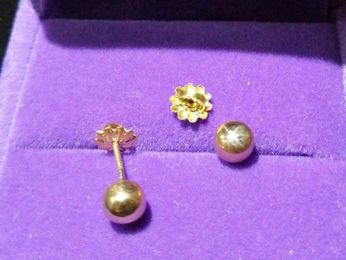 faedbc2d536a Aros De Oro 18 Kilates Bolita 5mm + Caja Terciopelo Joyería