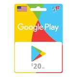 Tarjeta Google Play Gift Card 20 Usa Digital - Prepagochile