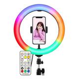 Aro De Luz Rgb Multicolor Con Control De 26cm Y Tripode 2.1m