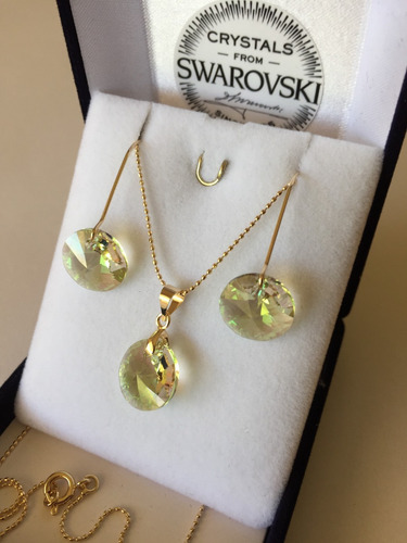 1b34fb30be56 Joyas Cristal Swarovski Conjunto Rivoli Oro Gold-filled 14k