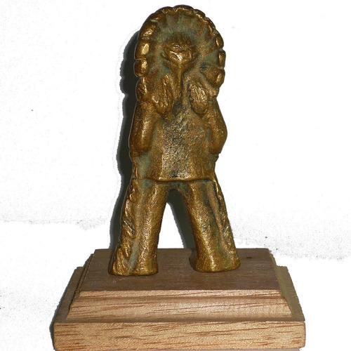 Figuras Indios,bronce Y Plomo Plaqué,10 Y 7,5 Cm. Alto,c/uno