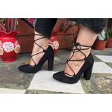 1f2b7899 Zapatos De Mujer Taco Ancho Y Tiras En El Tobillo 35 Y 37
