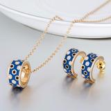 d767f514e00f Conjunto  Set Aros+colgante- Bañado Oro- Envío Gratis- Azul
