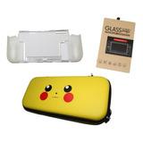 Kit Protección Nintendo Switch Bolso Pika + Mica + Carcasa