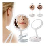Espejo Con Luz Led Para Maquillaje Plegable + Aumento X10