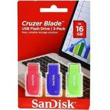Pack 3 Pendrive Sandisk 16 Gb Cruzer Blade - Techbox