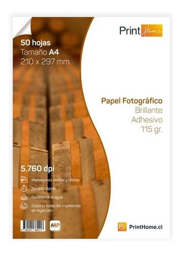 Papel Fotográfico Brillante Adhesivo 115 Gr. 50 Hojas A4