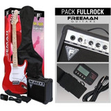 Pack Guitarra Eléctrica Freeman Stratocaster Full Rock Rojo