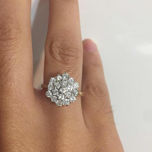 4212a4fb5c6b Walk-in Espectacular Anillo Oro 18k Con Diamantes Compromiso