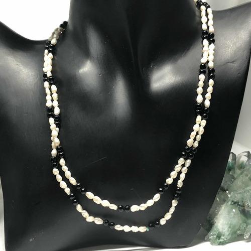 9bf56374d228 Collar Perlas Cultivadas Genuinas Y Cuentas De Ónix.