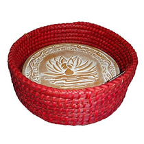 Rollo De Pan Tejido A Mano W Lotus Terracotta Warming Tile S