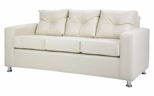 Sofa 3 cuerpos cuero pu beige patas metal directo de - Cambiar relleno sofa ...