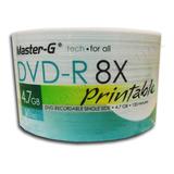Pack 200 Uni. Dvd-r 4.7gb 8x Master-g Imprimible Full Face