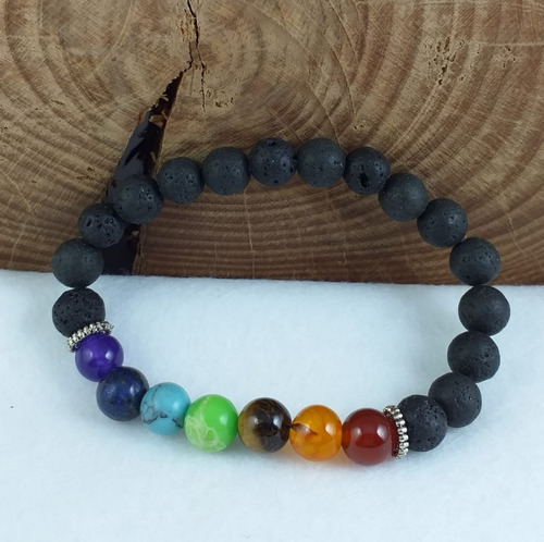 3a2e57c1c7df Pulsera Hombre Mujer Piedra Volcánica Natural 8mm 7 Chakras