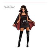 ** Disfraz Hallowee Vestido Negro Vampiro Murciélago + Capa