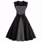 Vestido Vintage Pin Up Años 50 Negro Va 216