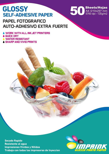 Papel Adhesivo Extrafuerte  Brillante A4/135g/200 Hojas