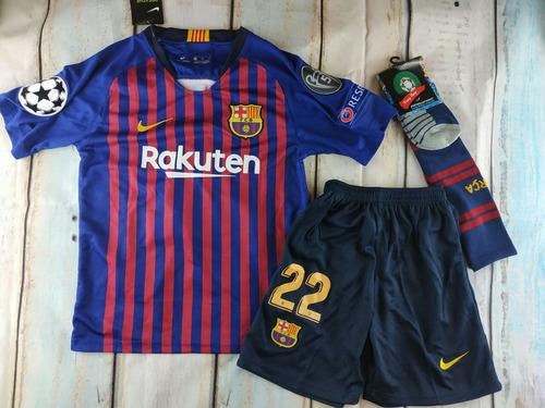 8a427e834a89e Camiseta+short+calcetas Barcelona 2018-2019 Niño Vidal