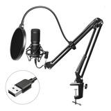 Micrófono Condensador Usb Con Atril Y Antipop Newo