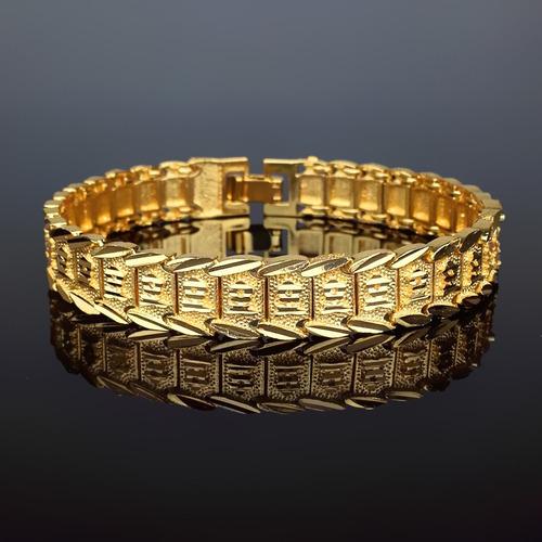 a8ff9a52a43c Moda Joyas Clásico Mujeres Hombres Pulsera 18k Real Oro
