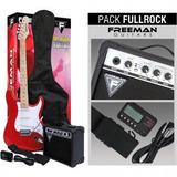 Pack Guitarra Eléctrica Freeman Stratocaster Full Rock Rojo