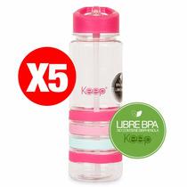 Pack 5 Botellas De Agua Termo Keep 750ml Libre Bpa