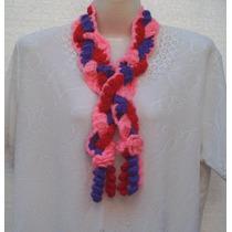 Bufanda Trenza. En Tres Colores. A Crochet.
