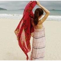 Pañuelo Pareo Bufanda Algodon Seda Estampado Rosas