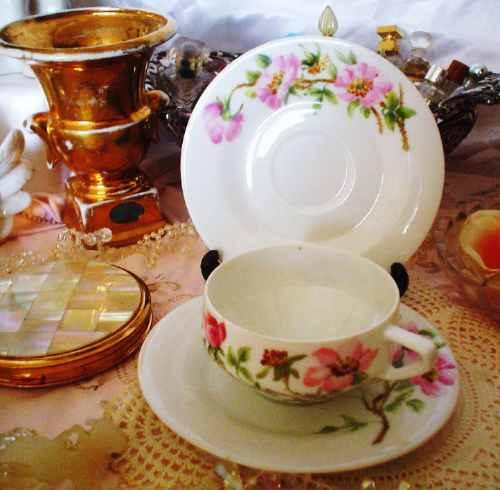 Antigua taza de porcelana de bohemia pintada a mano 1890 for Tazas de porcelana