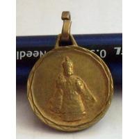 Antigua Medalla Dorada Del Niño Jesus De Praga