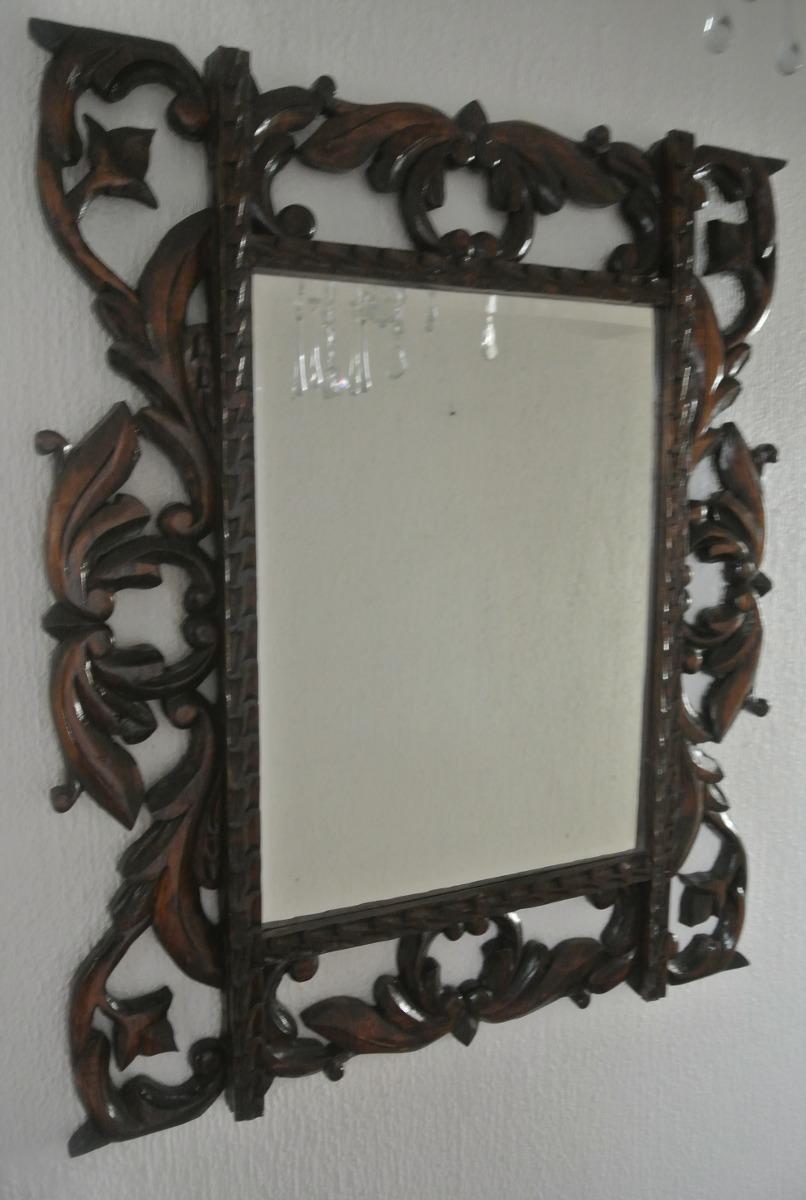 Antiguo espejo biselado marco de madera en - Marcos espejos antiguos ...