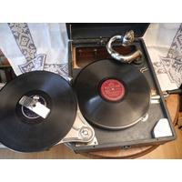 Gramofono Antiguo Victor Con 7 Discos De Vinilo Funcionando