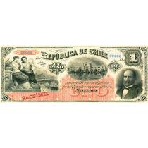 Chile Facsimil Escaso Billete 1 Peso 1a Emisión Fiscal 1879