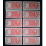 Chile Diez Billetes 100 Pesos Correlativos Molina Ibañez
