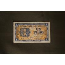 Pequeño Billete Chileno De 1 Peso 1943 Serie A Naranja