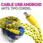 Cable 1mt Usb Tipo Cordel Reforzado Para Android