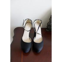 Zapatos Pulsera Taco Alto Ancho Tipo Años 60 Nuevos 37