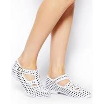 Zapatos F-troupe Mujer Lona Blanca Lunares Negros 38