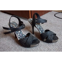 Zapatos Sandalias Dakota Brasil Negros Fiesta 37 Taco