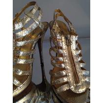 :::. Zapatos Dorados Con Cierre, Nro 40. :::